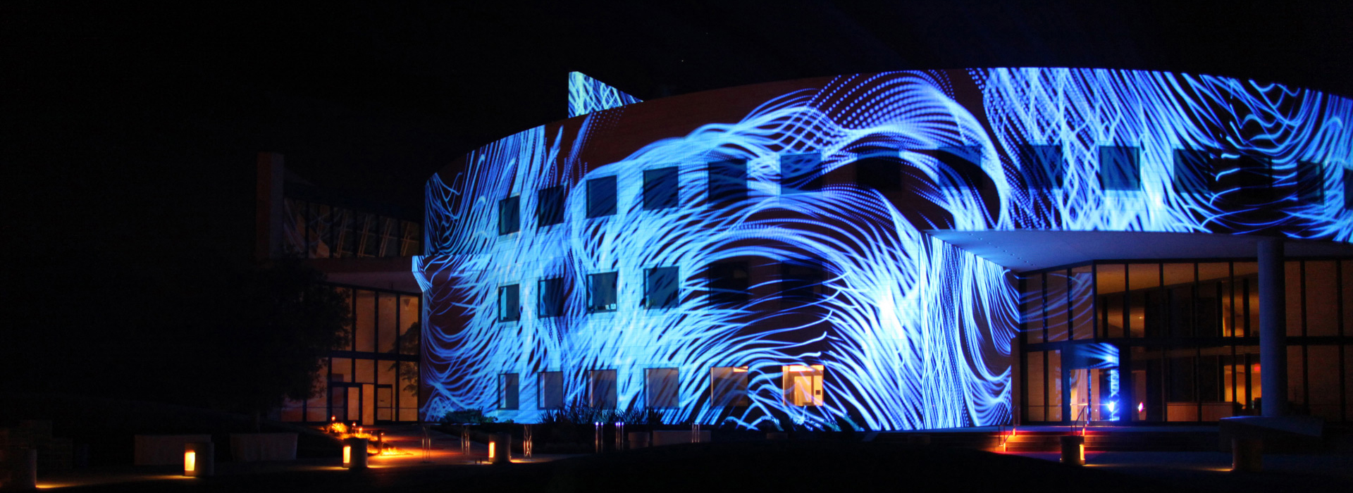 Лазерное шоу на здании